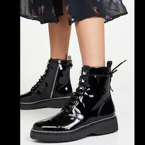 Michael Kors Haskell Patent Leather Combat Boots